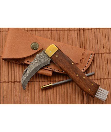 Exkluzív damaszk gombász kés kézzel készített 2