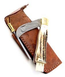 Exkluzív damaszk gombász kés szarvas agancs markolattal kézzel készített