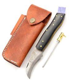 Exkluzív damaszk gombász kés with micarta black kézzel készített