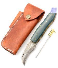Exkluzív damaszk gombász kés zöld micarta kézzel készített