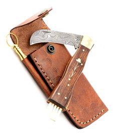 Exkluzív damaszk gombász kés kézzel készített