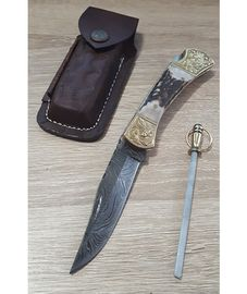 Szett Damascus Stag Engraved Bolster bőrtok és zseb fenőrúd