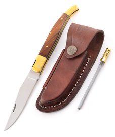 Szett - kés Laguiole fa, bőrtok és zseb fenőrúd
